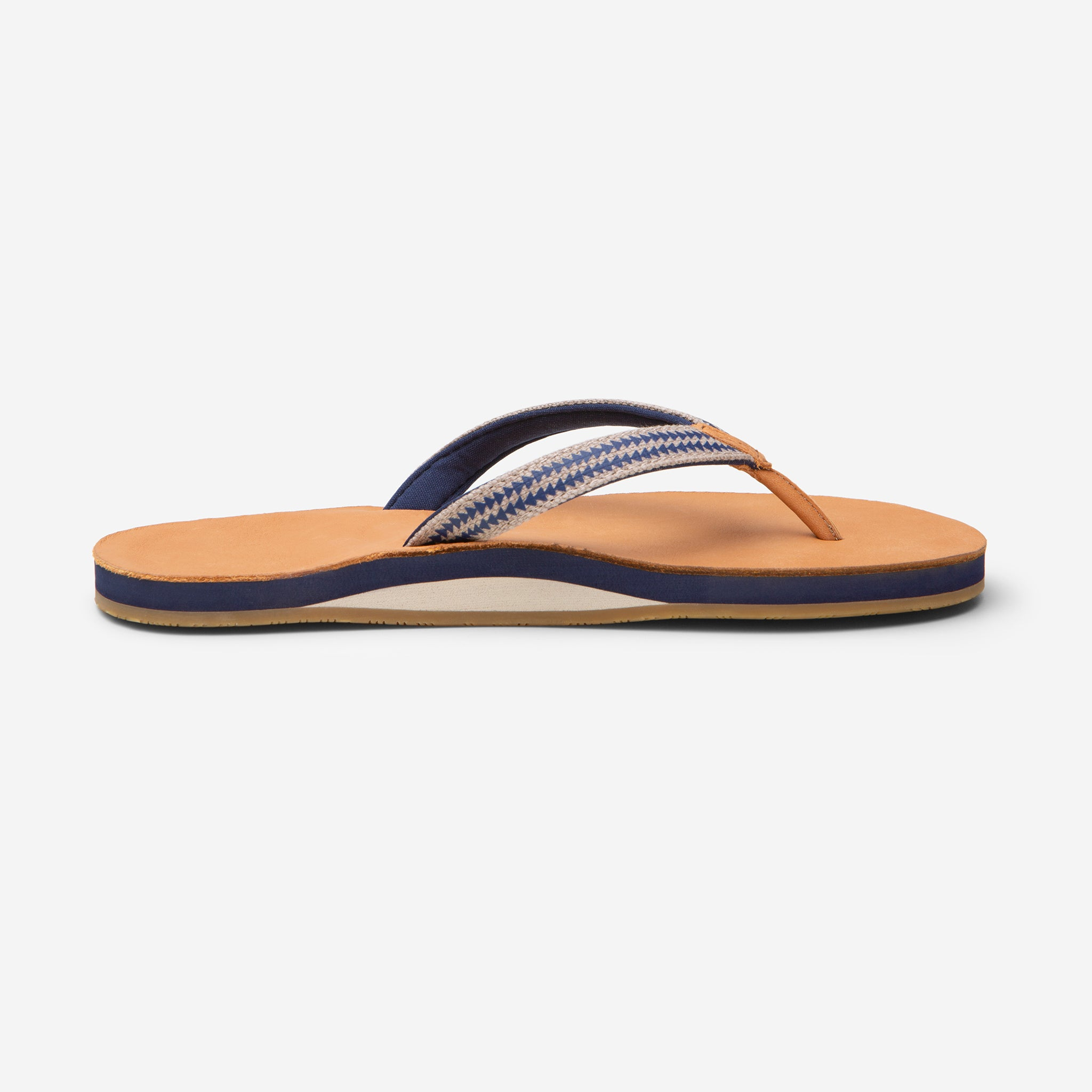 side profile of Hari Mari Women's Fields Puebla flip flops in wheat/navy on white background