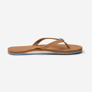 side profile of Hari Mari Women's fields flip flops in tan/dusty blue on white background