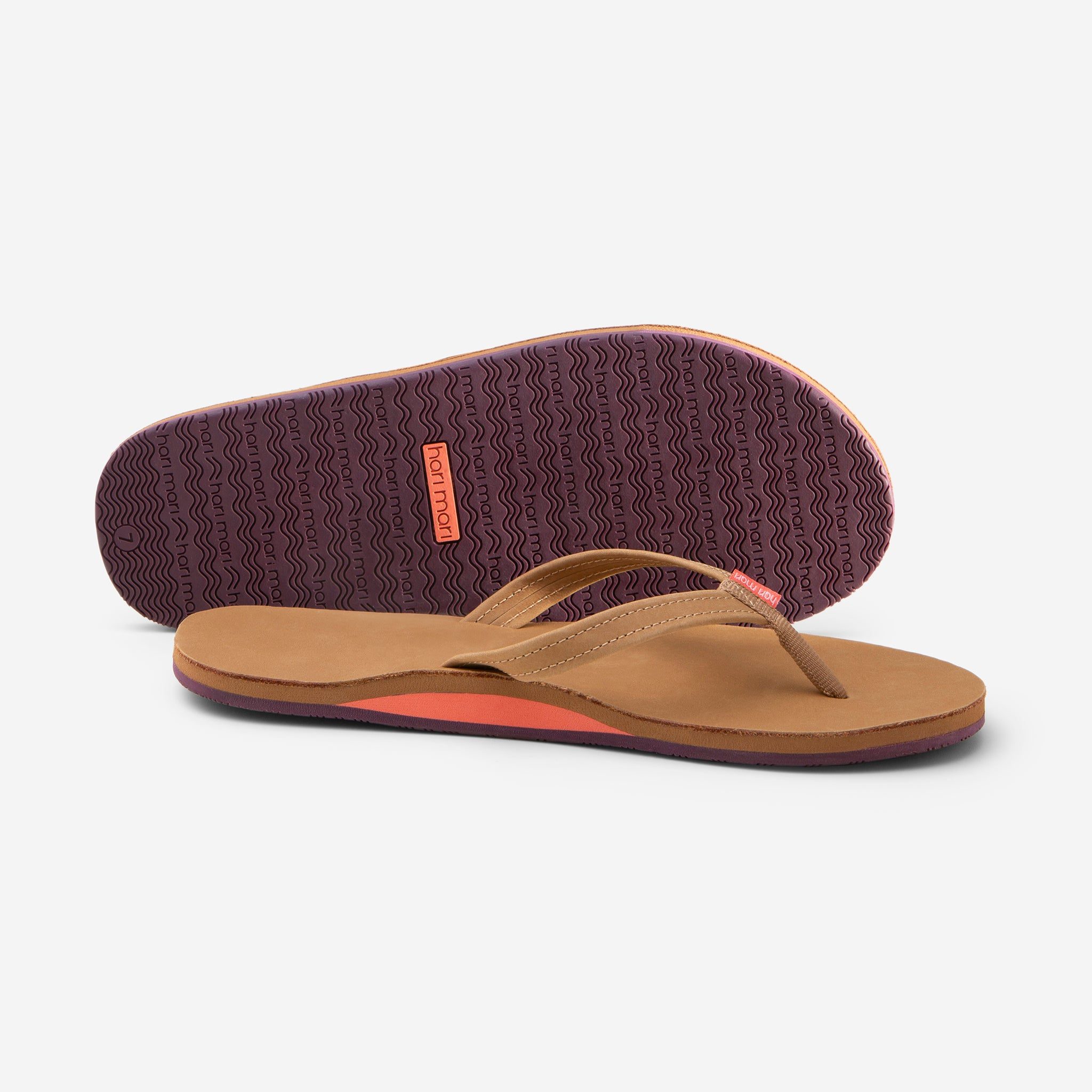 Hari Mari Women's fields flip flops in tan/fig picture showing shoe and bottom of shoe rubber outsole on white background