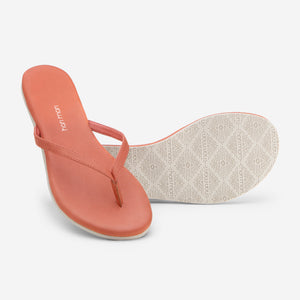 Hari Mari Women's The Mari Flip Flop in Bruschetta showing flip flopped bottom of flip flop rubber outsole on white background