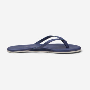 side profile of Hari Mari Women's The Mari Flip Flop in Navy on white background