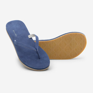 Hari Mari Women's Meadows Flip Flops in Navy on white background showing flip flop and bottom of flip flop rubber outsole