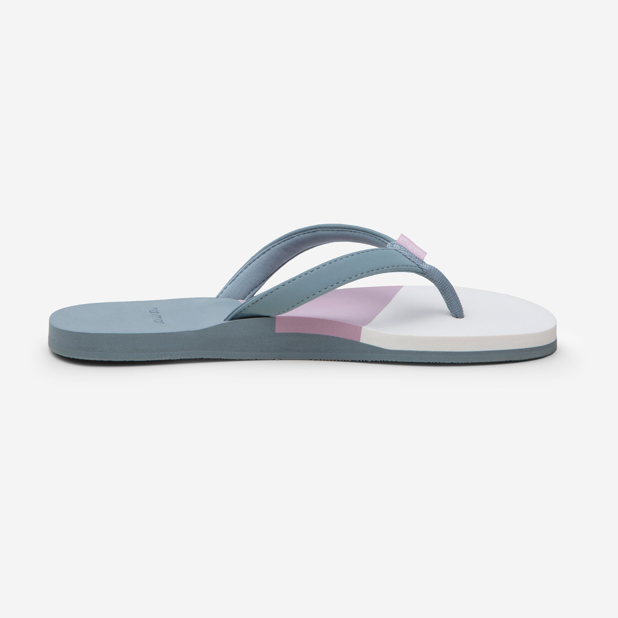 side profile of Hari Mari Women's Meadows Asana Flip Flops in Lead/Lily/mauve on white background