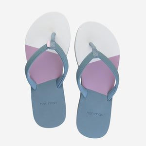 Hari Mari Women's Meadows Asana Flip Flops in Lead/Lily/mauve on white background