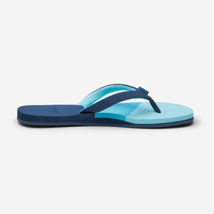side profile of Hari Mari women's meadows asana flip flops in navy/multi color on white background