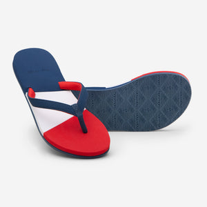 Hari Mari Women's Meadows Asana Flip Flops in Navy/Red/Lily on white background showing flip flop and bottom of flip flop rubber outsole