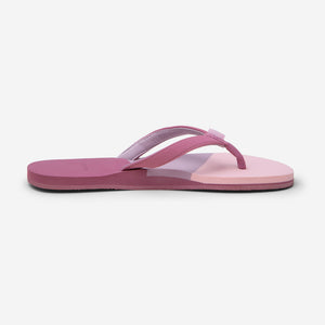 side profile of Hari Mari women's meadows asana flip flops in rose/multi color on white background