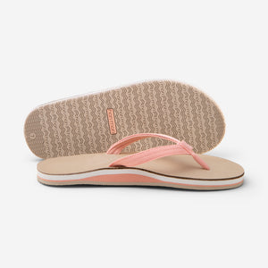Hari Mari Women's scouts flip flops in coral/sand picture showing flip flop and bottom of shoe rubber outsole on white background