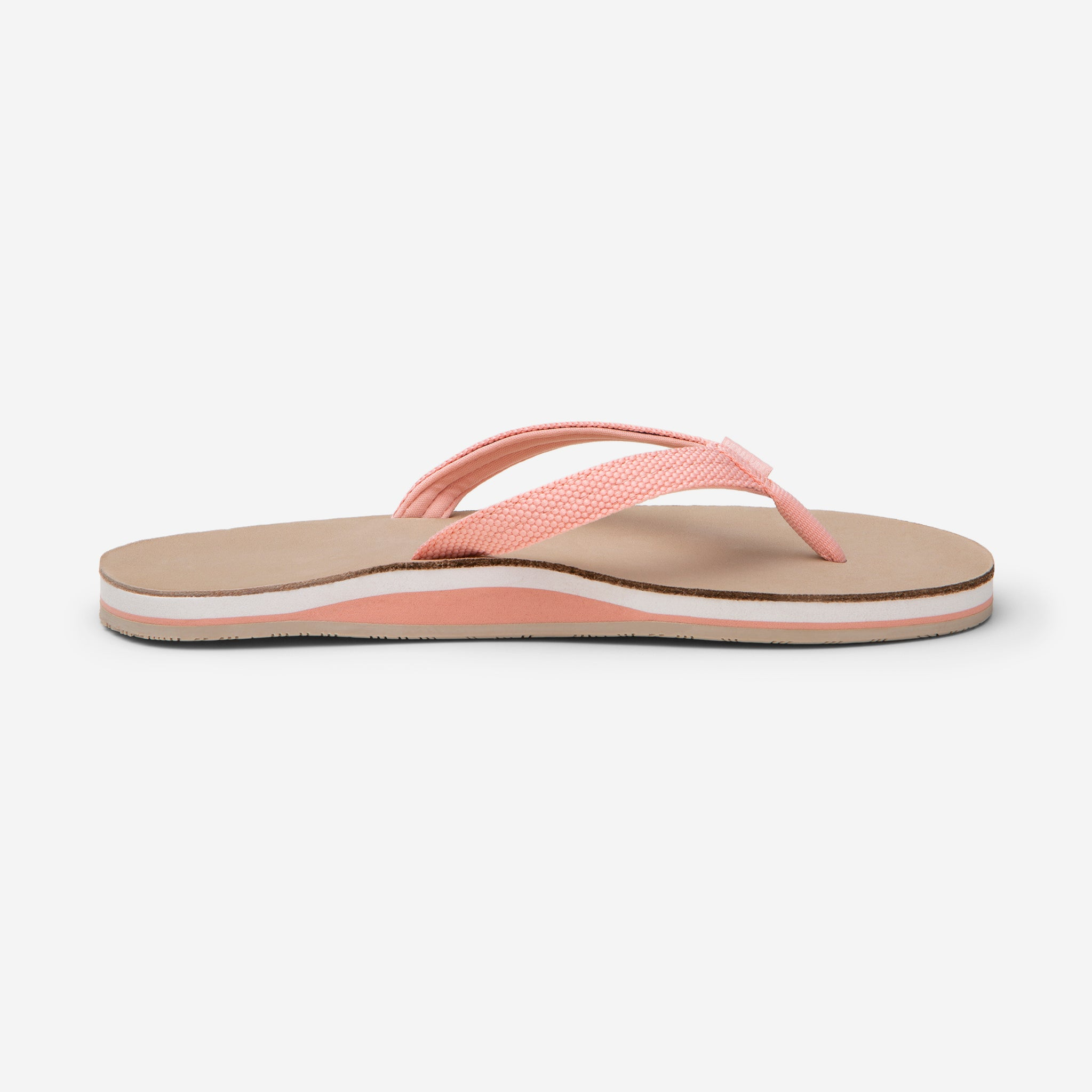side profile of Hari Mari Women's scouts flip flops in coral pink/sand on white background