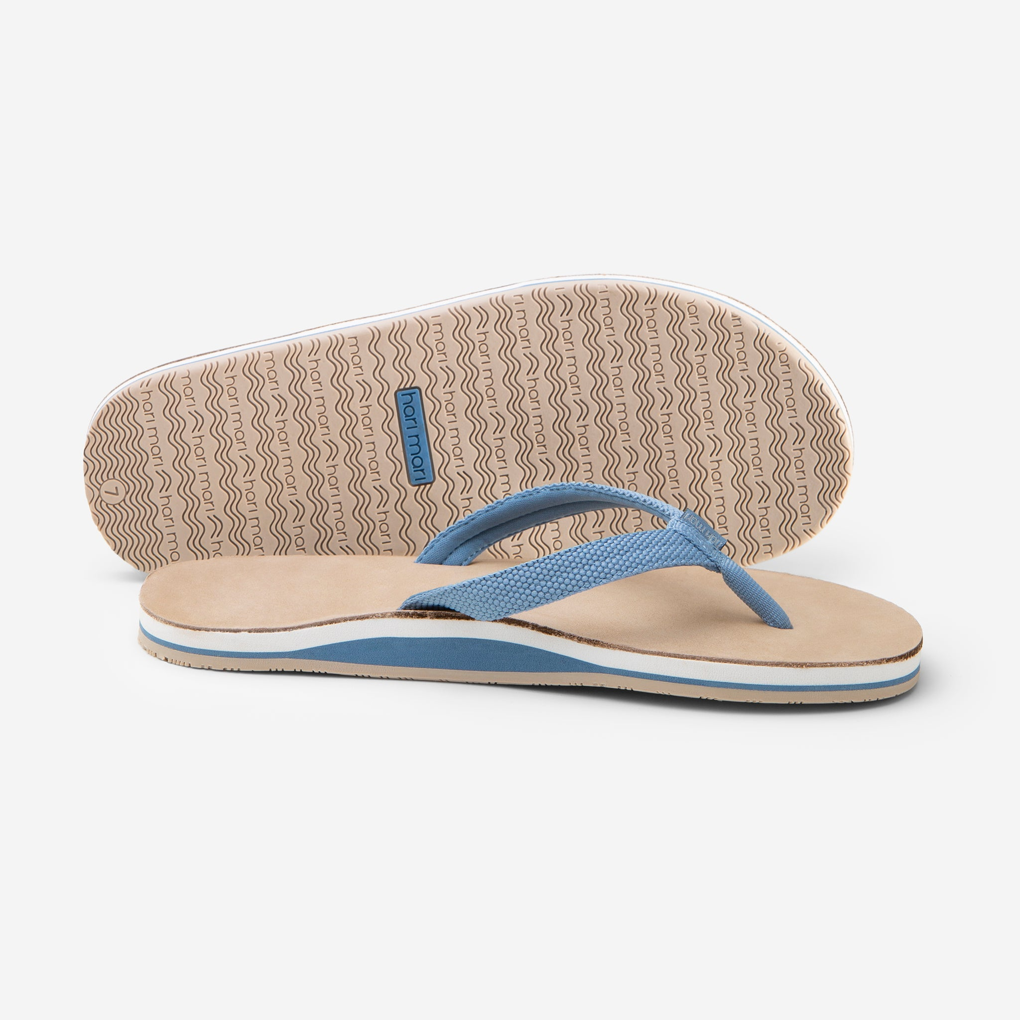 Hari Mari Women's Scouts in Dusty Blue/Sand picture showing flip flop and bottom of shoe rubber outsole on white background