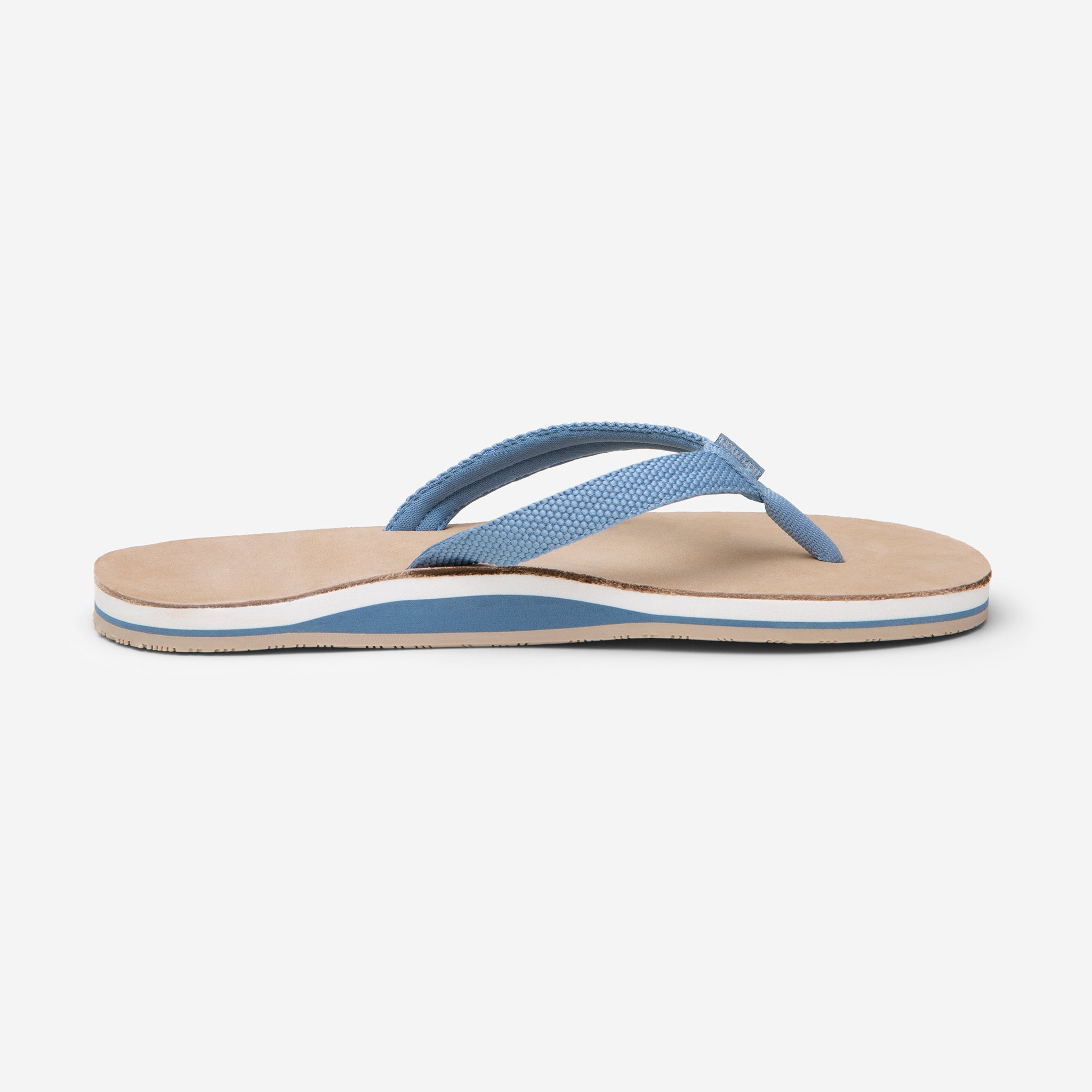 side profile of Hari Mari Women's Scouts flip flops in dusty blue/sand on white background