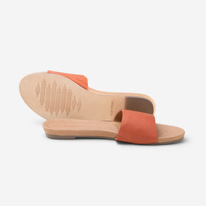 Hari Mari Women's Sydney Sandal in Bruschetta showing sandal and bottom of sandal genuine leather rubber outsole on white background