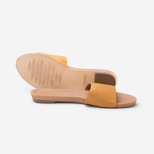 Hari Mari Women's Sydney sandal in natural on white background showing sandal and bottom of sandal genuine leather rubber outsole