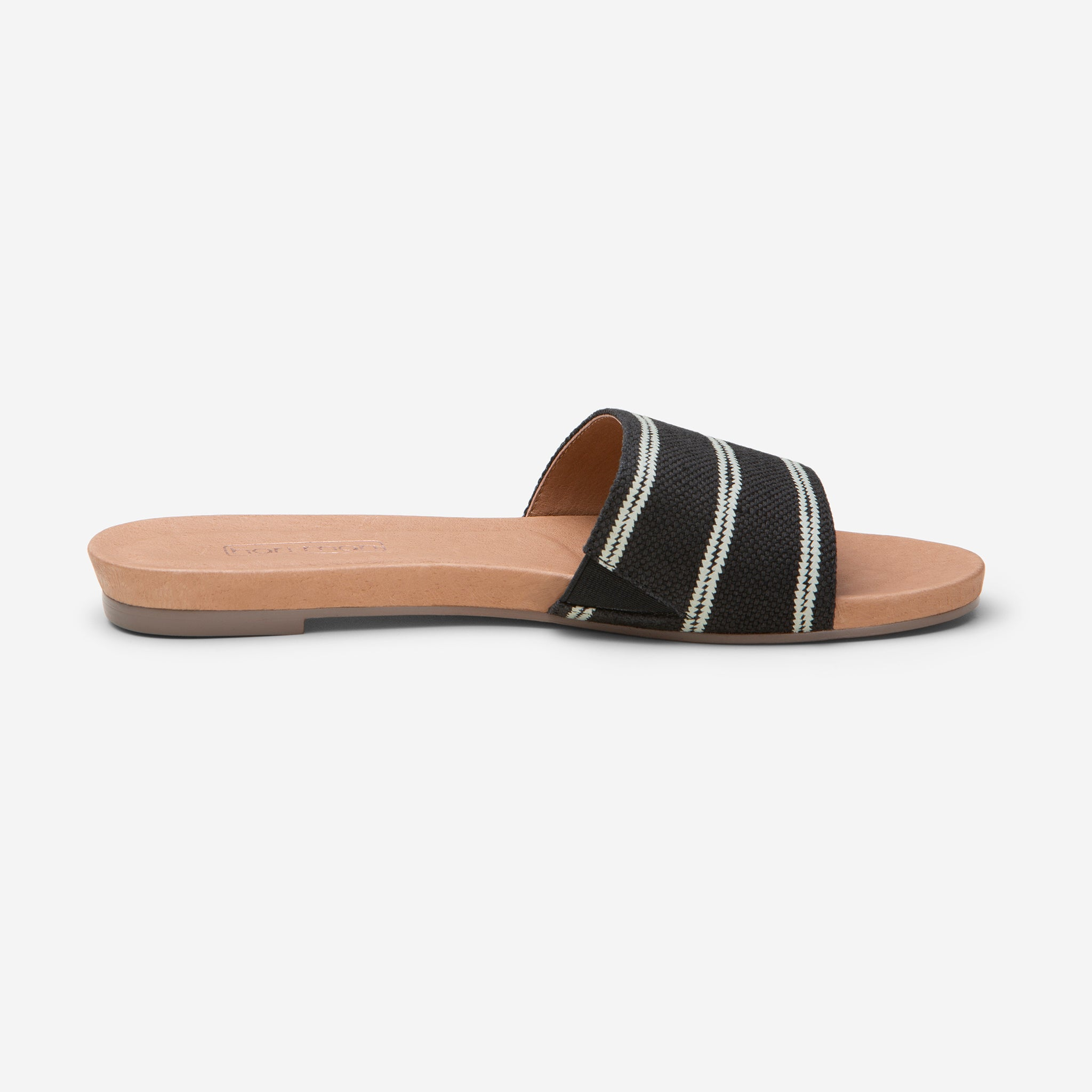 side profile of Hari Mari Women's Sydney Woven Sandal in Black on white background