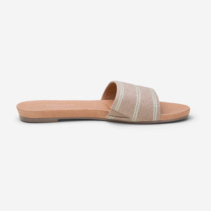 side profile Hari Mari Sydney Woven Sandal in Natural on white background