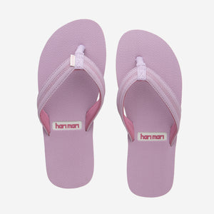 Hari Mari's Youth Brazos flip flops in mauve/rose on white background
