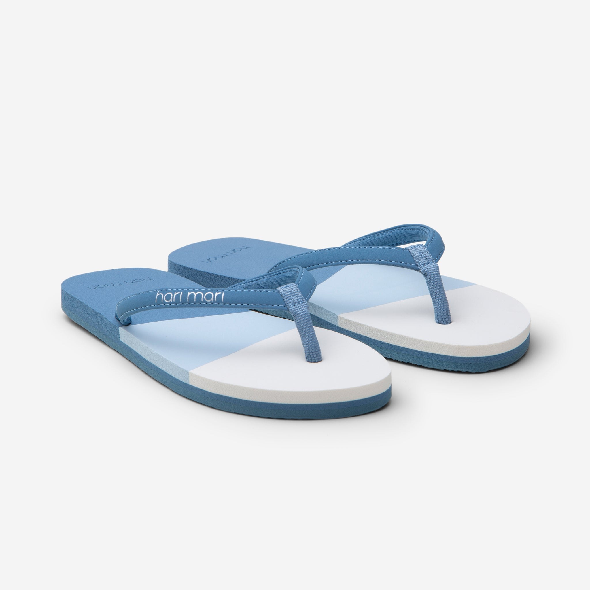 Hari Mari Youth Meadows Asana Flip Flops in Dusty Blue with multi colors on white background