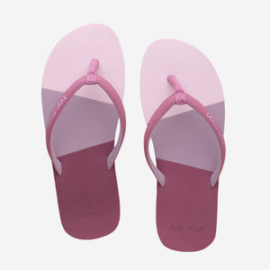 Hari Mari Meadows Asana Youth flip flops in Rose/multi color on white background