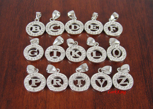 White gold filled sterling silver initials, with zirconia crystal, silver initial, initial charm silver, personalized initial, add ons, P03