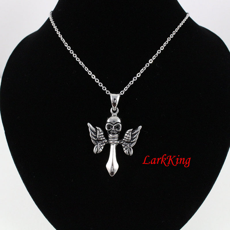 Cross necklace, winged cross, skull necklace, skeleton necklace, skull cross, wing cross, stainless steel, wing necklace, NE7087