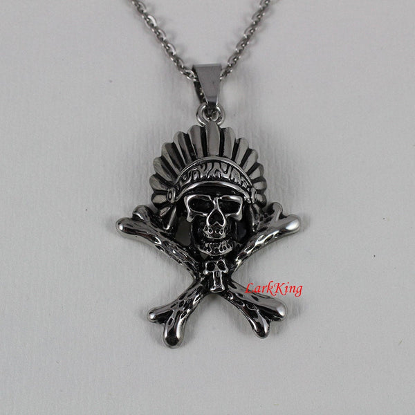 Pirate necklace, stainless steel pirate skull necklace, skull necklace, skeleton necklace, skull pendant, steel skull, skull jewelry, NE7019
