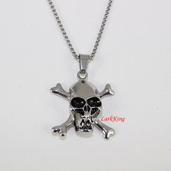Pirate necklace, skull necklace, skeleton necklace, stainless steel pirate skull necklace, skull pendant, steel skull, skull jewelry, NE7021
