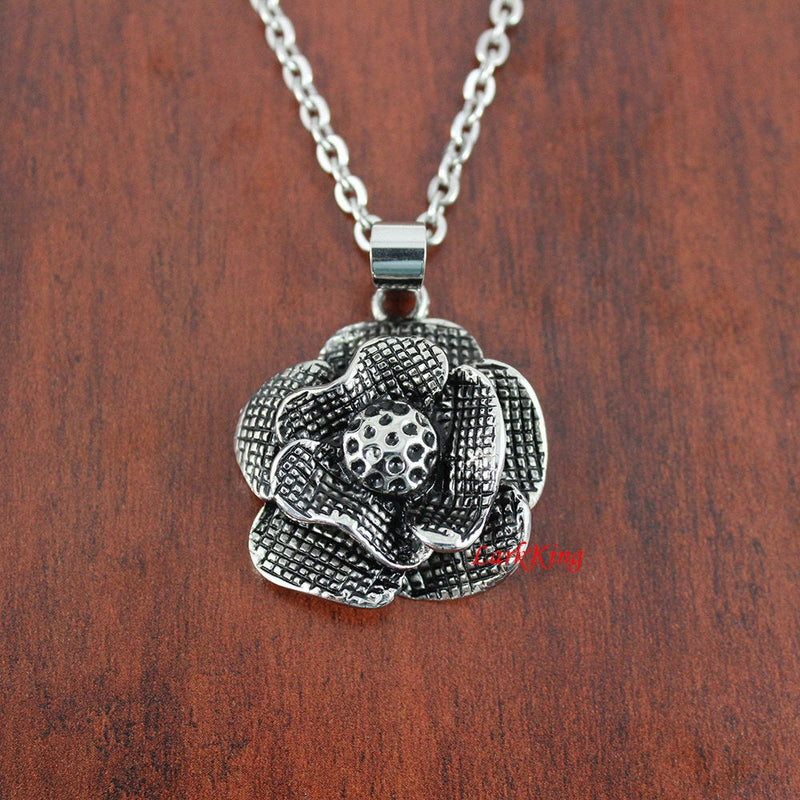 Rose necklace, nature necklace, girls necklace, rose charm, rose pendant, jewelry necklace, fashion necklace, stainless steel, NE7023