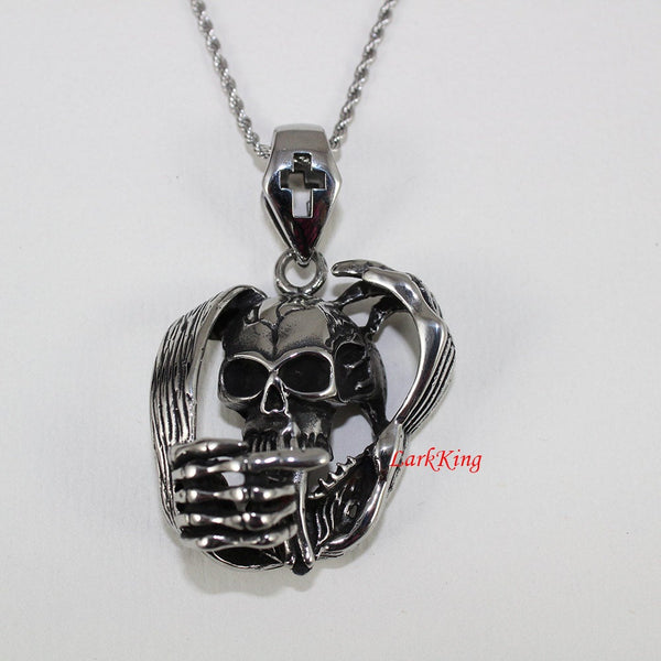 Skull necklace, skeleton necklace, cross necklace, stainless steel, skeleton jewelry, skull jewelry, skull pendant, skull charm, NE7031