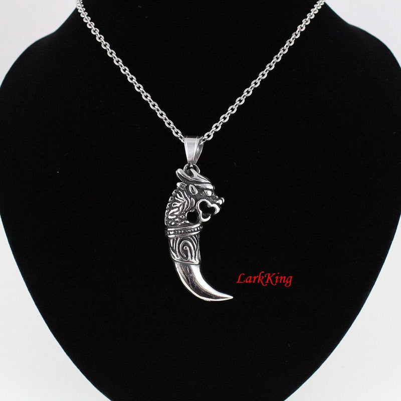 Dragon necklace, horn necklace, stainless steel, tooth necklace, girls necklace, horn pendant, dragon pendant, dragon charm, NE7036