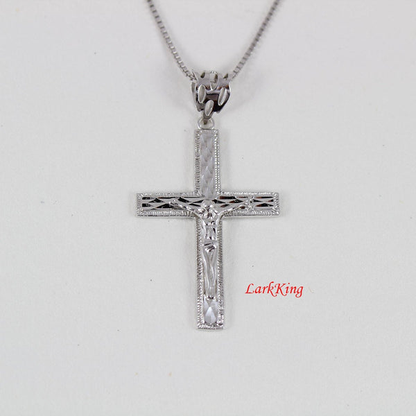 Jesus cross, crucifix cross, crucified cross, cross necklace, white gold filled sterling silver cross necklace, religious cross, NE8204