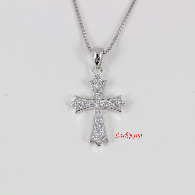 Sterling silver cross necklace, sterling cross, christian cross, simple cross, cross charm, religious gift, girl cross necklace, NE8209