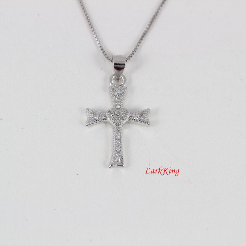 Sterling silver cross necklace, small cross necklace, cross heart necklace, silver cross charm, tiny cross necklace, cross jewelry, NE8215