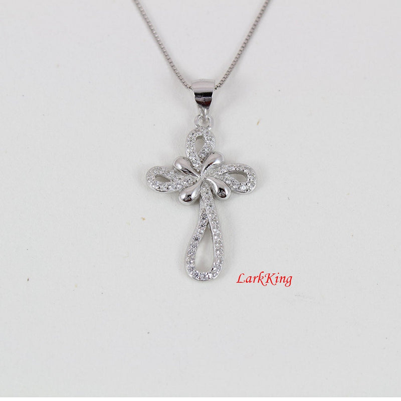 Sterling silver cross necklace, infinity cross, silver necklace, religious necklace, christian jewelry, baptism cross, gift for her, NE8232