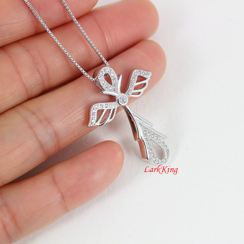 Sterling silver cross necklace, angel necklace, angel wings necklace, necklace, catholic cross, christian necklace, christian cross, NE8237