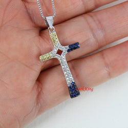 Sterling silver cross necklace, cross necklace, gold silver and blue color cross pendant, girls cross necklace, cross necklace men,  NE8251