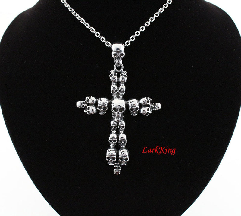 Skull necklace, stainless steel, cross necklace, skull pendant, cross pendant, cross necklace men, mens cross necklace, girls cross, NE5058