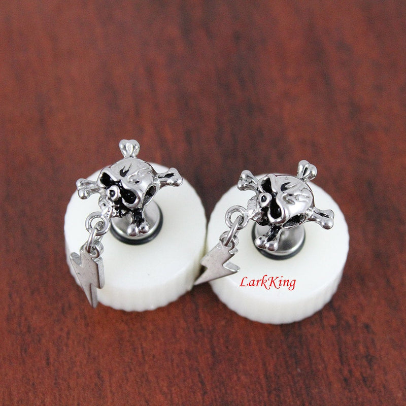 Stud earrings, lightning skull stud earrings, unique studs, earrings, unique gifts, statement earrings, lightning earrings, LarkKing ER397