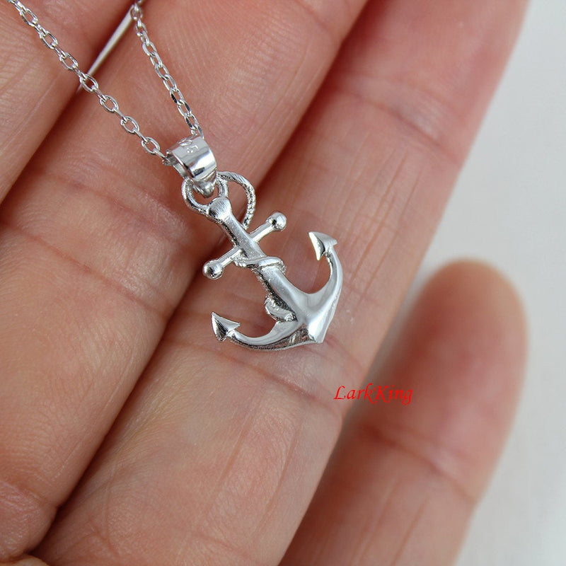 Sterling silver anchor necklace, rope anchor necklace, anchor cross pendant, women necklace, men necklace; double sided anchor charm, NE8263