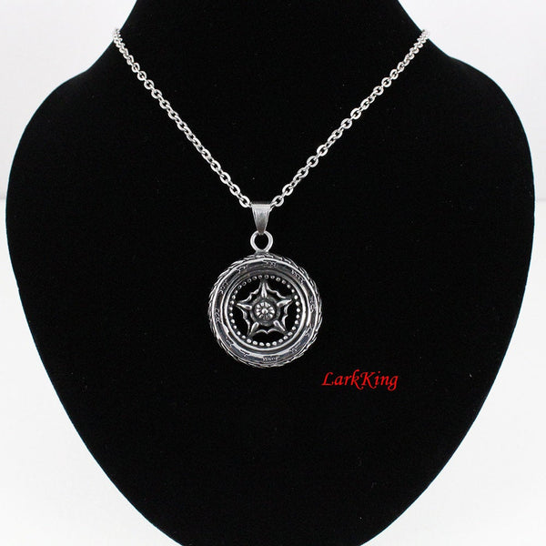Wheel of Time Star Necklace, Roman Numeral Time Tire Pendant, Double-Sided Tire Charm, Fancy Star Spoke Tire Charm, LarkKing NE7065