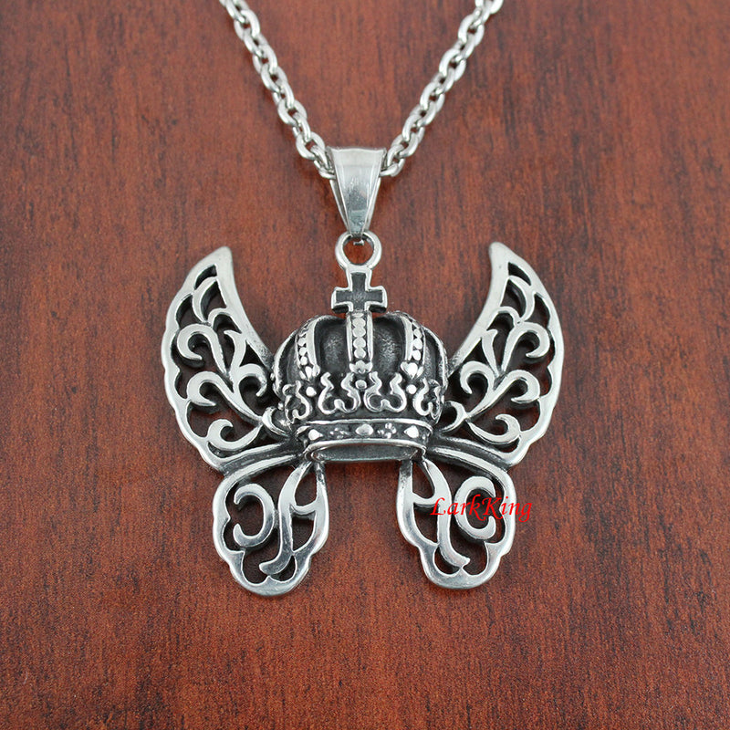 Butterfly Wings Crown Charm Necklace, Winged Royal Crown Necklace, Butterfly Wings Charm, Royal Crown Necklace, LarkKing NE7064
