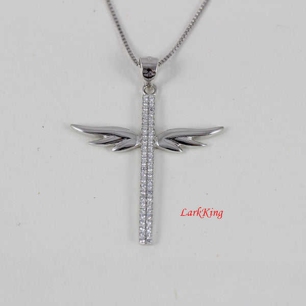 Angel wings cross necklace, wings necklace, sterling silver necklace,  charming cross necklace, christian necklace, christian cross, NE8267