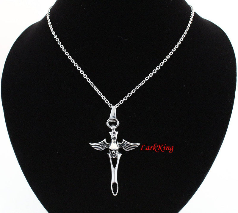 Winged skull cross necklace, winged cross, sword cross, skull necklace, wings cross, wings necklace, women necklace, men necklace; NE5023