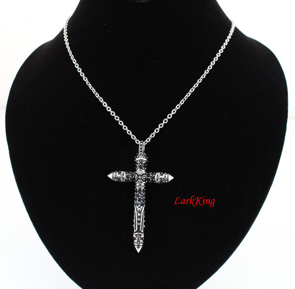 Stainless steel cross necklace, cross jewelry, cross necklace women, cross necklace men, steel necklace, Christmas cross, NE5024
