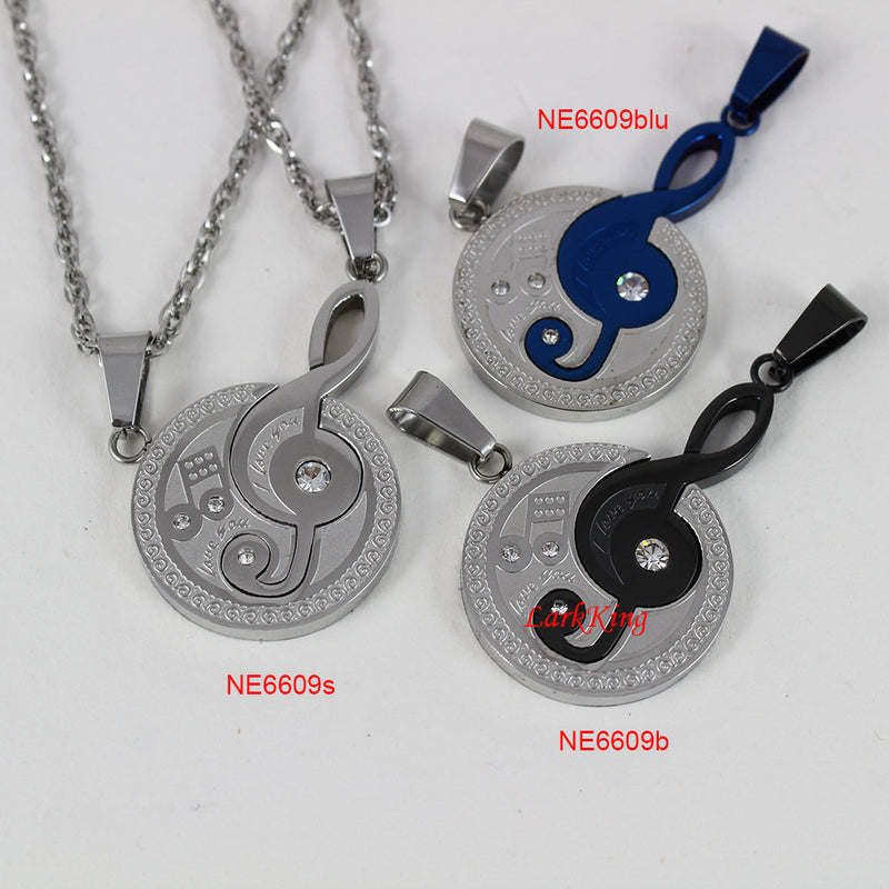 Couples necklaces, music necklace, love necklace, blue necklace, black necklace, I love you necklace, sister necklace, stainless, NE6609