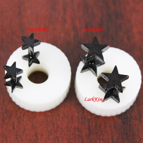 Double side stars stud earrings; black stud earrings; tiny star earrings; unique studs; unique gifts,  small star studs;  girl studs, SE3023