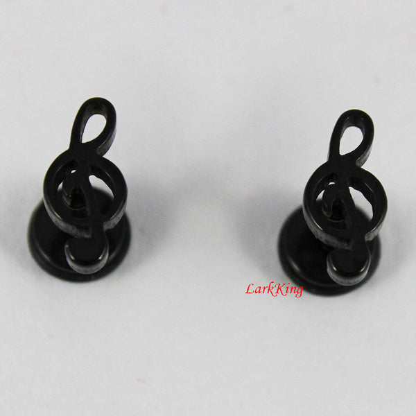 Music note stud earrings; music earrings; black stud earrings, black earrings,  black studs, surgical steel studs, unique studs, SE3033