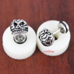 Stud earrings, skull stud earrings, unique skull studs, cute skull stud earrings, earrings for men, stainless steel studs, LarkKing ER362