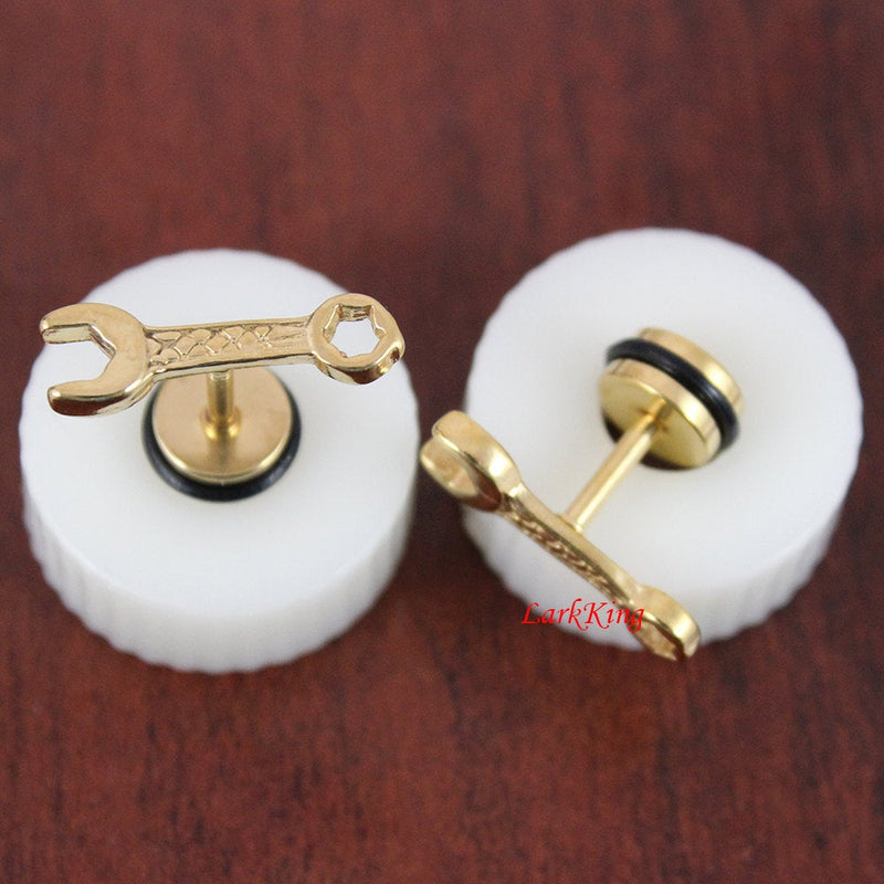 wrench stud earrings; tool stud earrings; black stud earrings; gold studs; funny studs; unique studs; earrings for men; men studs, SE3003