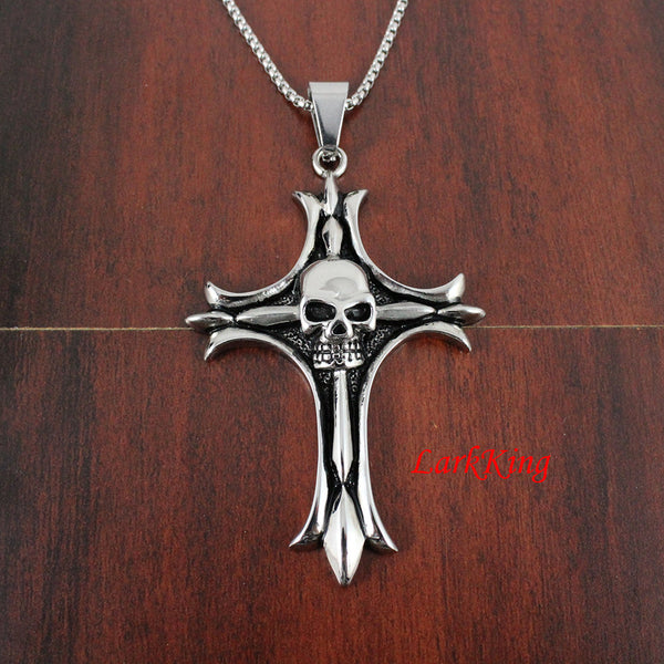 Stainless steel cross necklace, skull cross, christening gift, religious confirmation gift, catholic baptism gift, NE5017