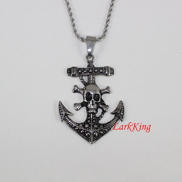 Pirate necklace, anchor necklace, sailor necklace, cross necklace, skull necklace, pirate anchor pendant, charm necklace, cross gift, NE5020